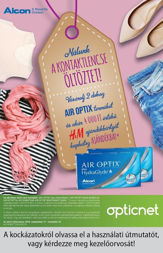 Air Optix kontaktlencse -  H&M ajándékkártya promóció