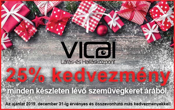 A Vicai Látás- és Hallásközpont nagyszabású szemüvegkeret akciót hirdet a karácsonyi időszakra.